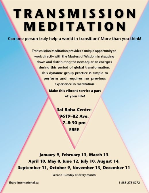 January 9, February 13, March 13, April 10, May 8, June 12, July 10, August 14, September 11, October 9, November 13, December 11, 2018 EdmontonTransmission meditation talks